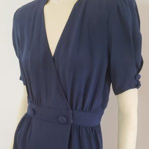 Adele Simpson navy silk wrap dress S 1980's